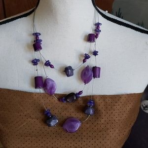 Chico's purple beaded 3 stranded necklace